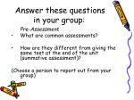 answer these questions in your group