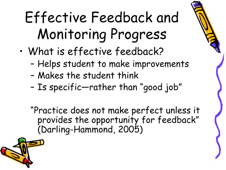 Effective Feedback and Monitoring Progress