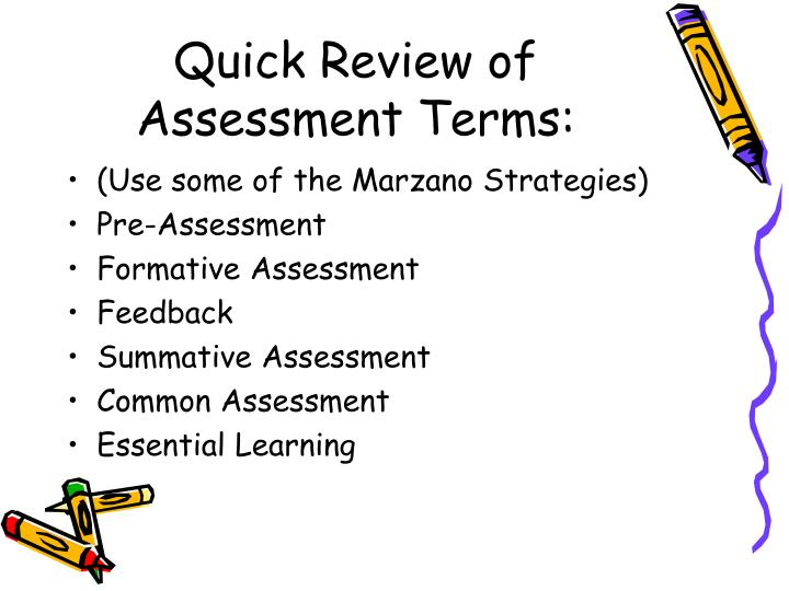 Quick Review of Assessment Terms:
