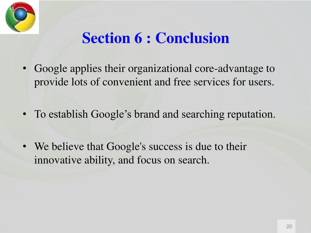 Section 6 : Conclusion