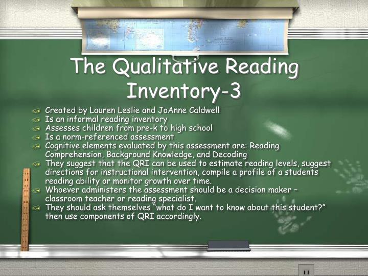 The Qualitative Reading Inventory-3