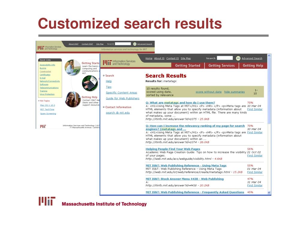 Customized search results