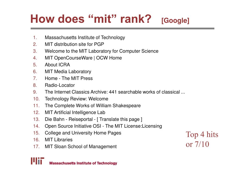 "How does ""mit"" rank?"