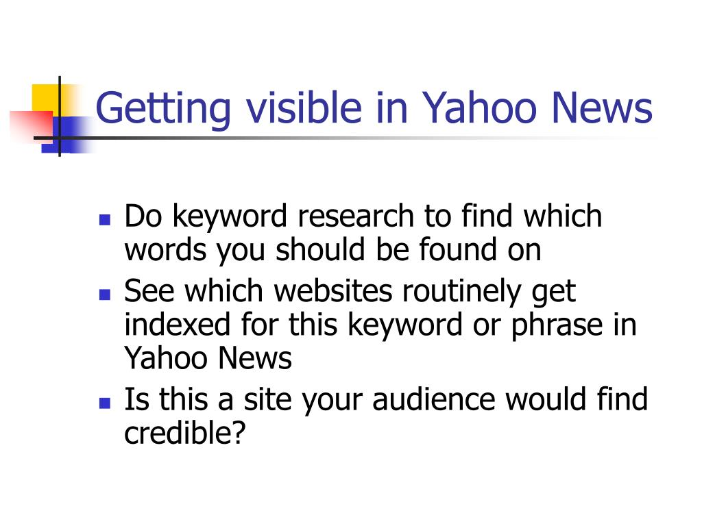 Getting visible in Yahoo News