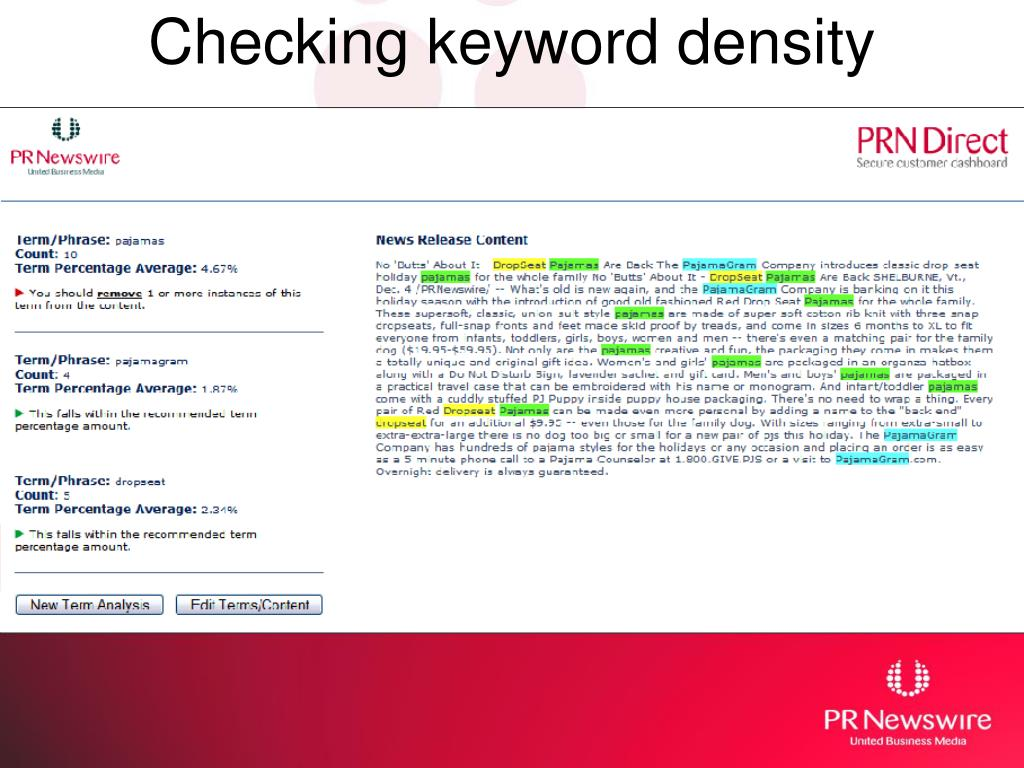 Checking keyword density