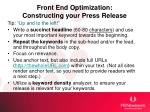 front end optimization constructing your press release