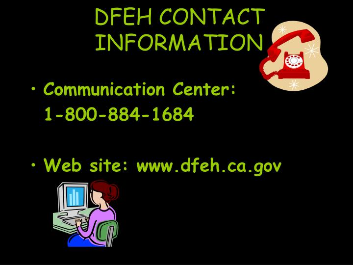 DFEH CONTACT INFORMATION
