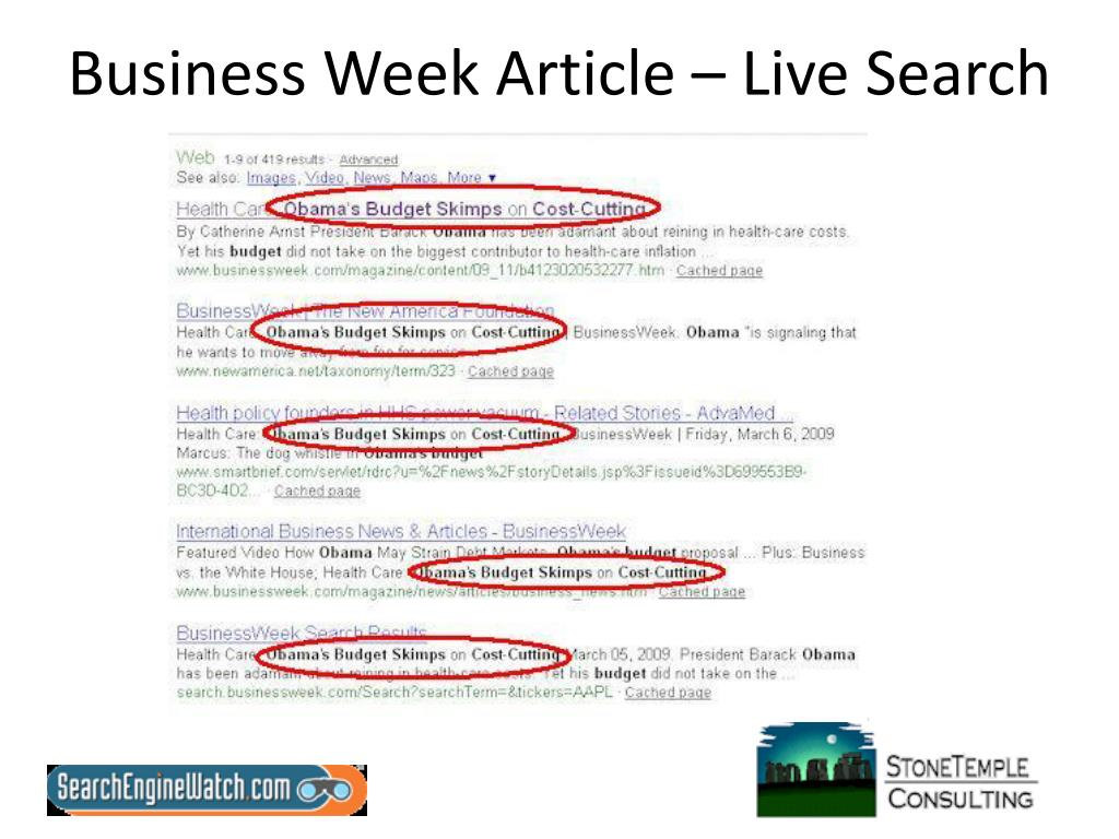 Business Week Article – Live Search