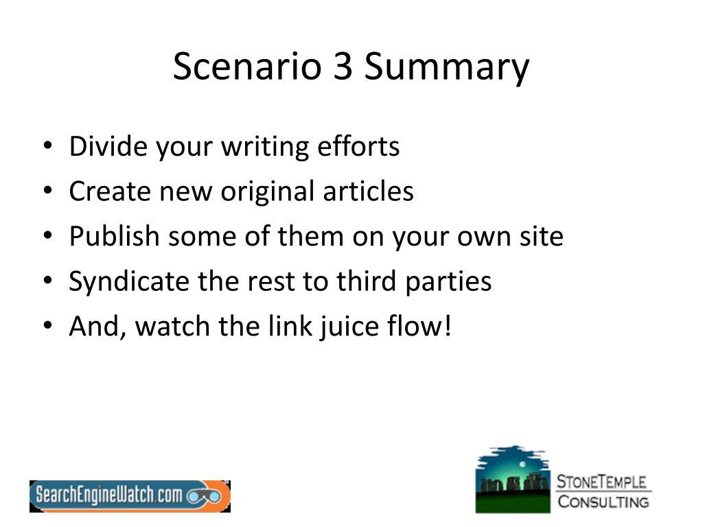 Scenario 3 Summary