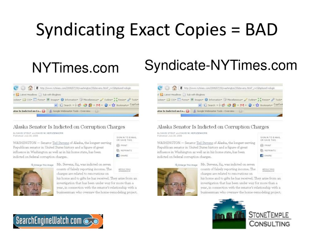 Syndicating Exact Copies = BAD