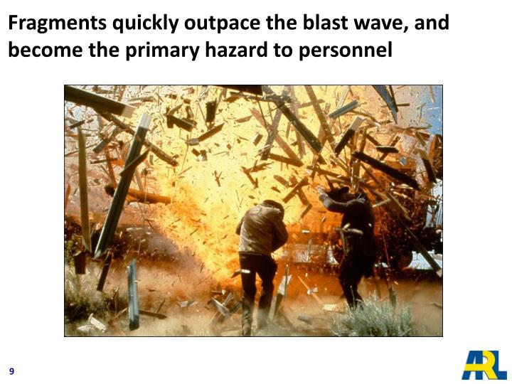 Fragments quickly outpace the blast wave, and become the primary hazard to personnel