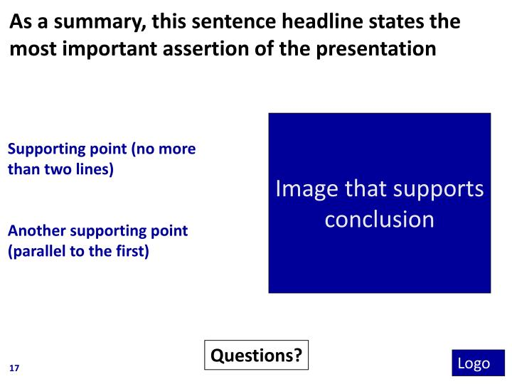 As a summary, this sentence headline states the most important assertion of the presentation