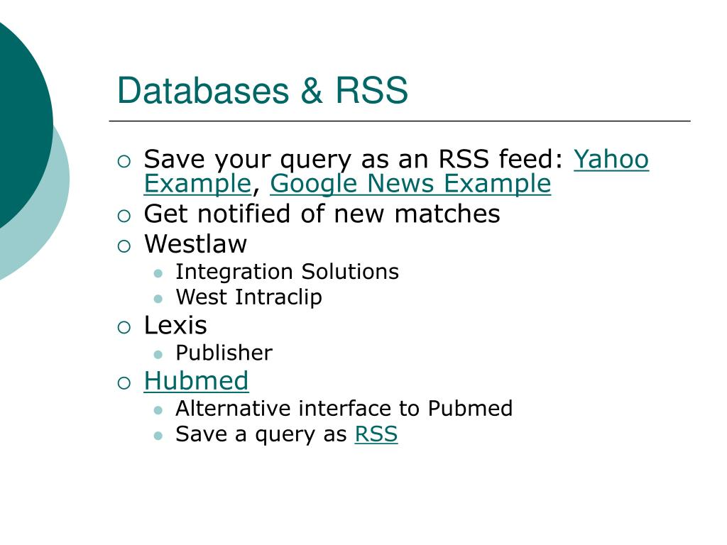 Databases & RSS