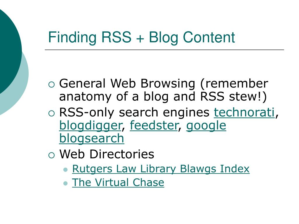 Finding RSS + Blog Content