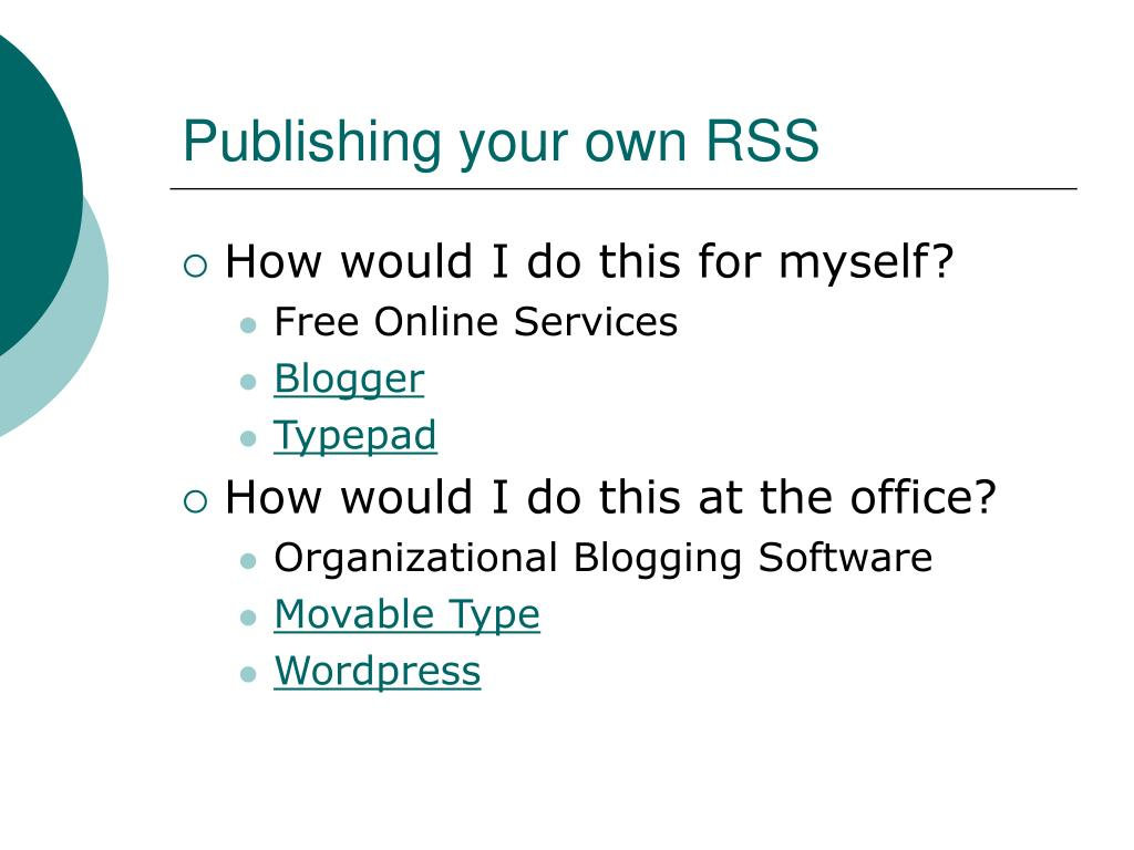 Publishing your own RSS