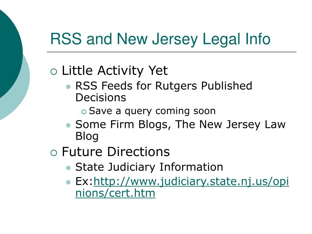 RSS and New Jersey Legal Info