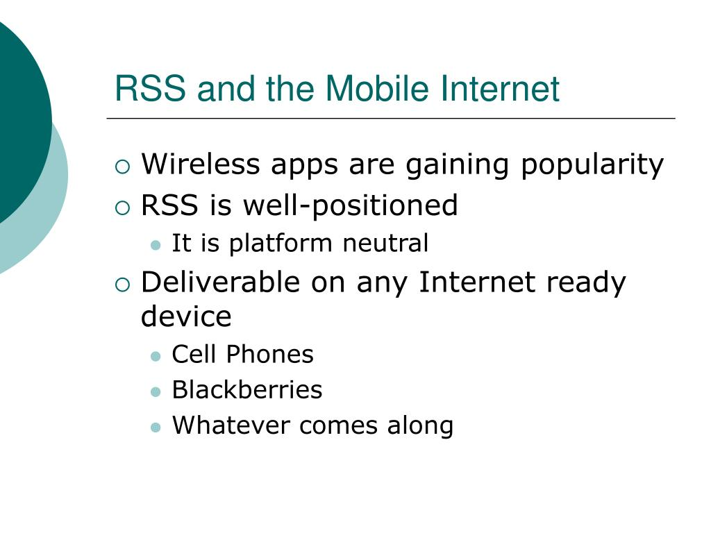 RSS and the Mobile Internet