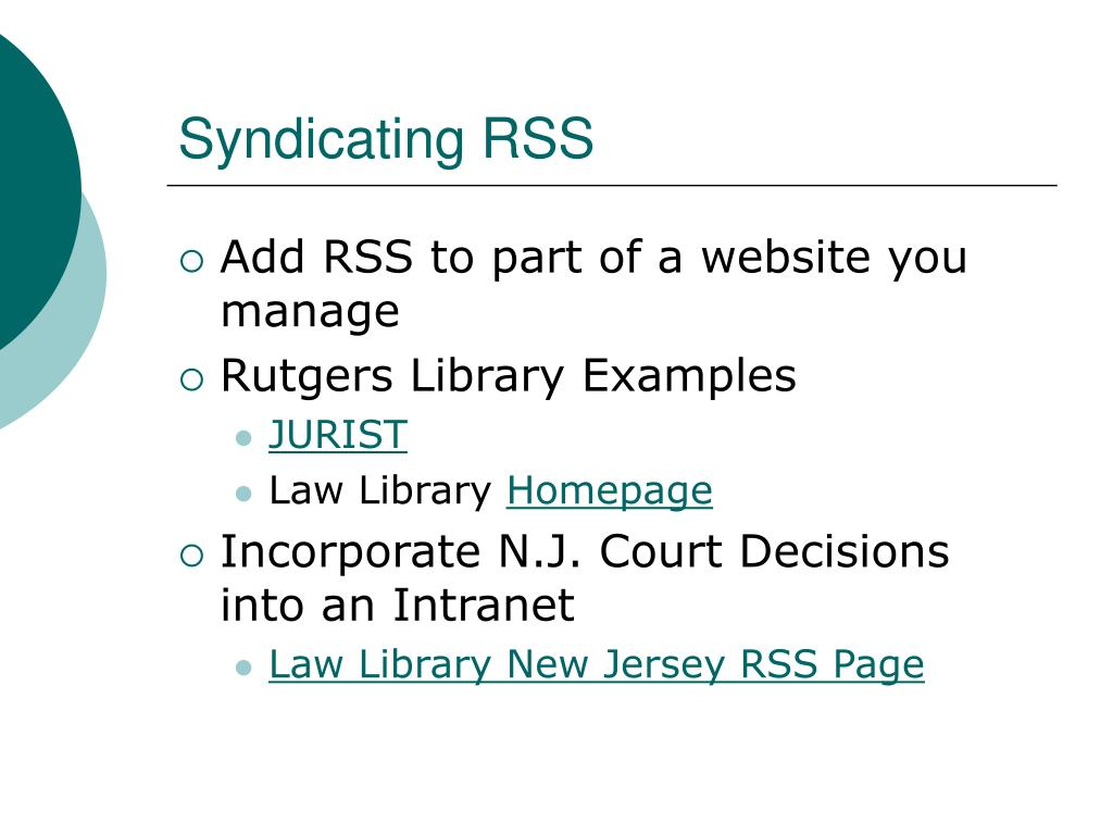 Syndicating RSS