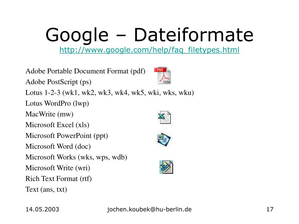 Google – Dateiformate