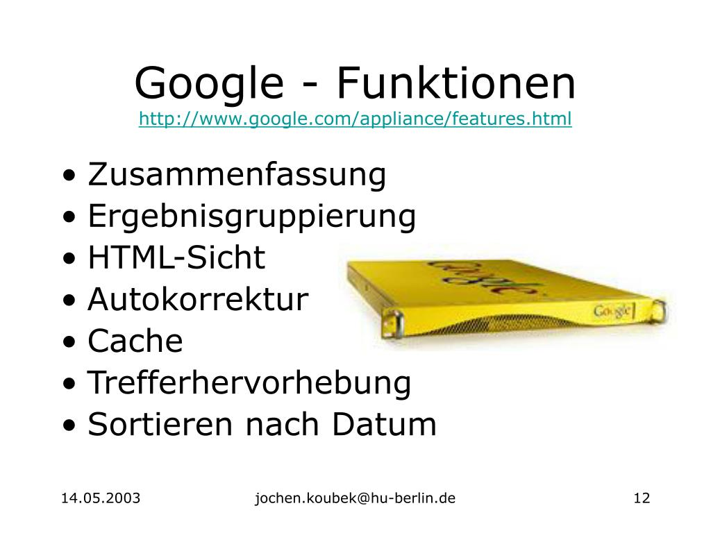 Google - Funktionen
