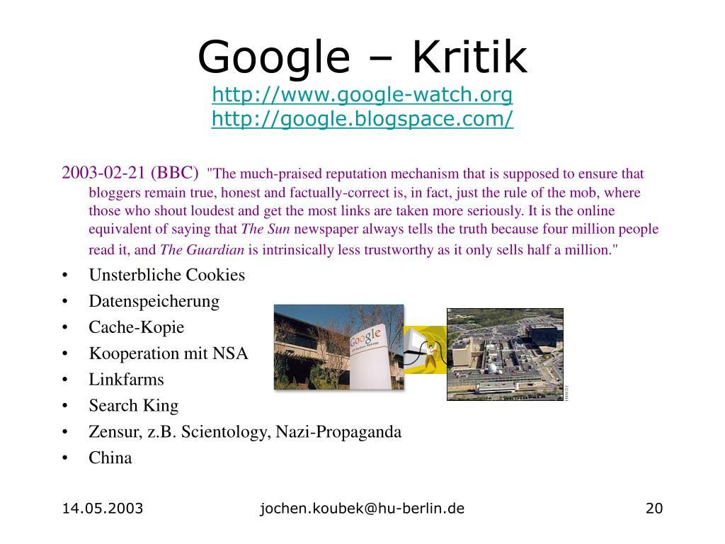 Google – Kritik