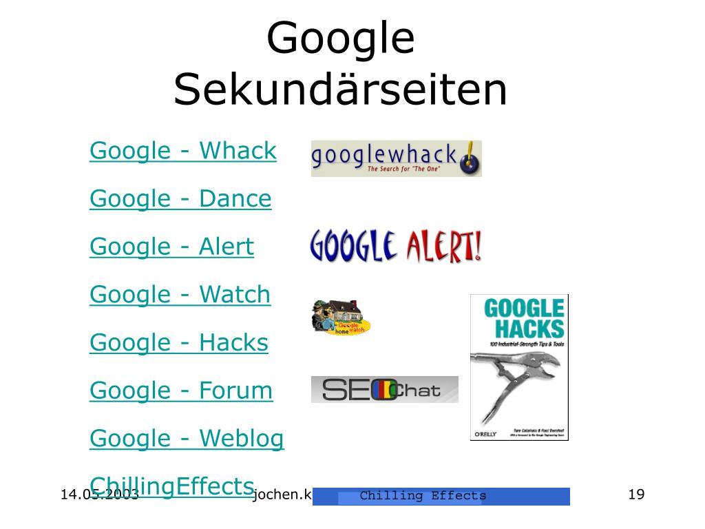 Google  Sekundärseiten