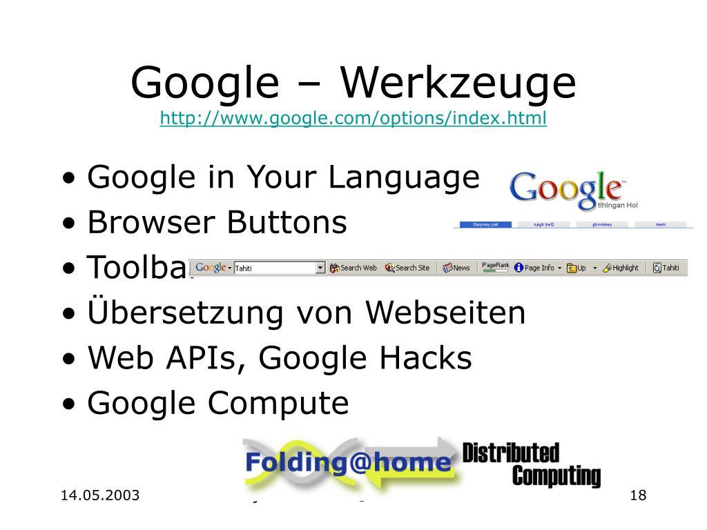 Google – Werkzeuge