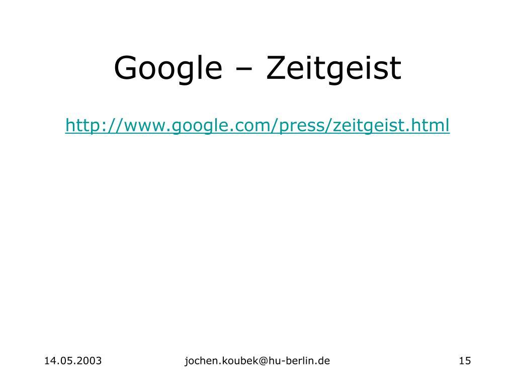 Google – Zeitgeist