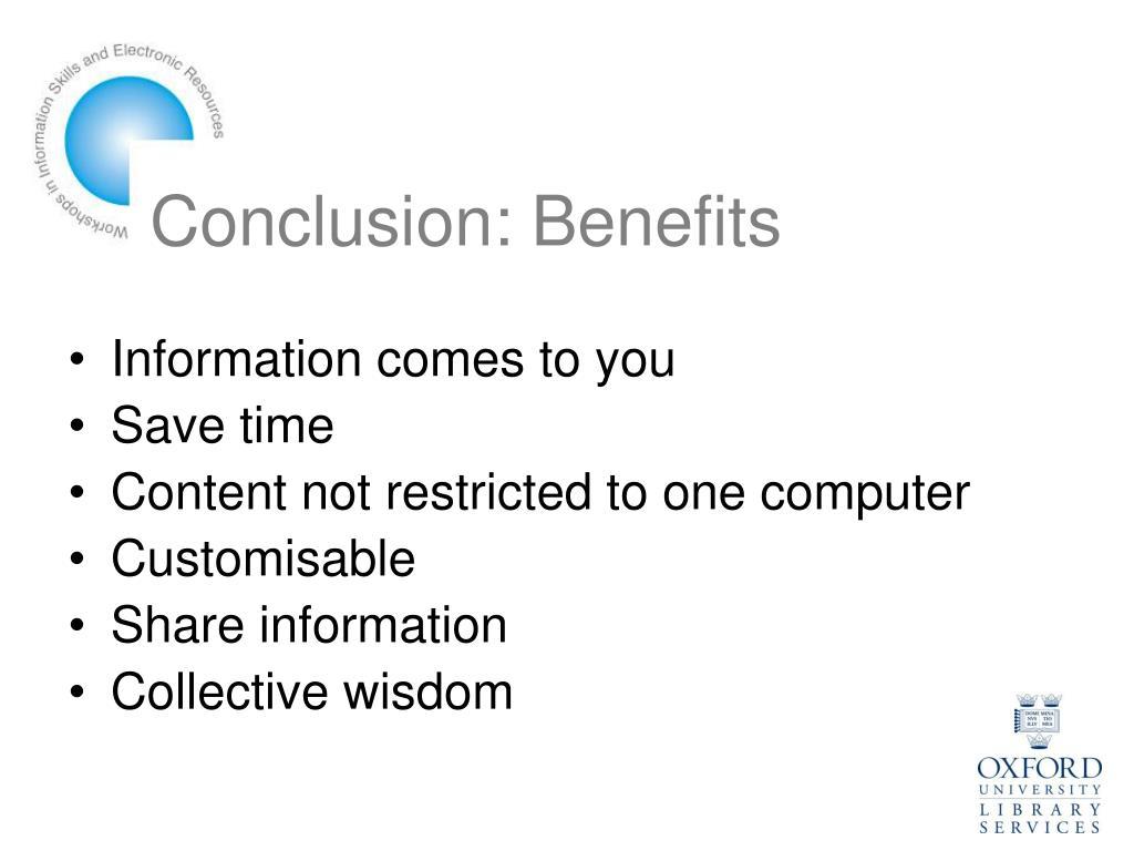 Conclusion: Benefits