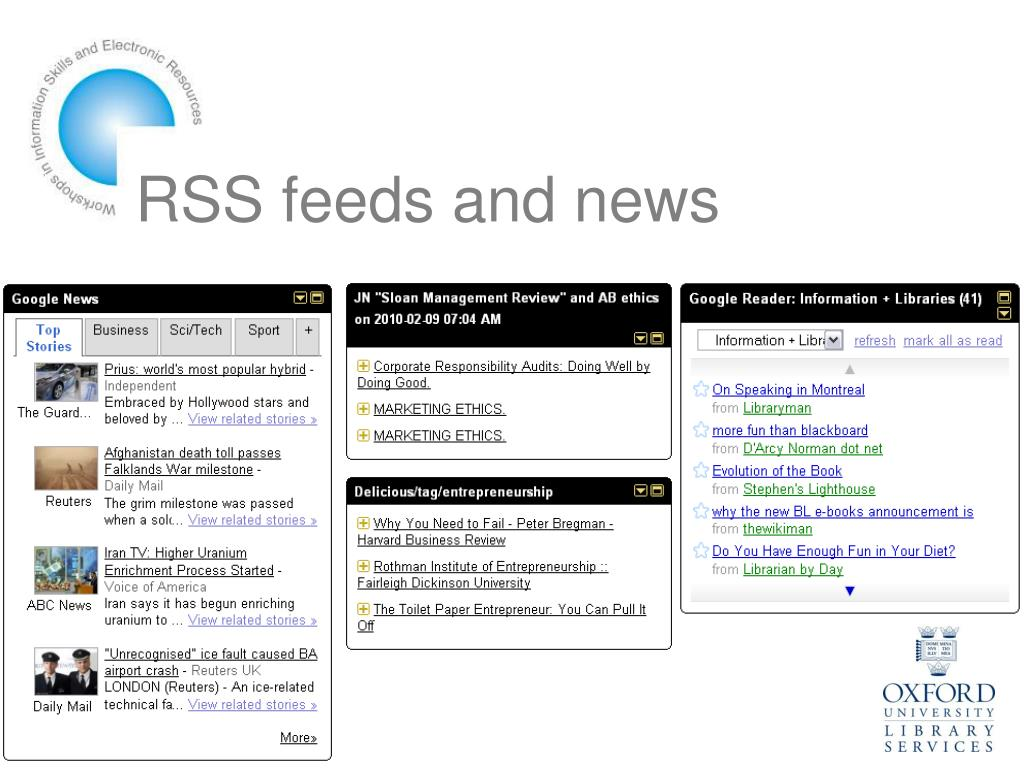 RSS feeds and news