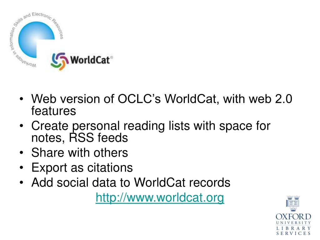 Web version of OCLC's WorldCat, with web 2.0 features
