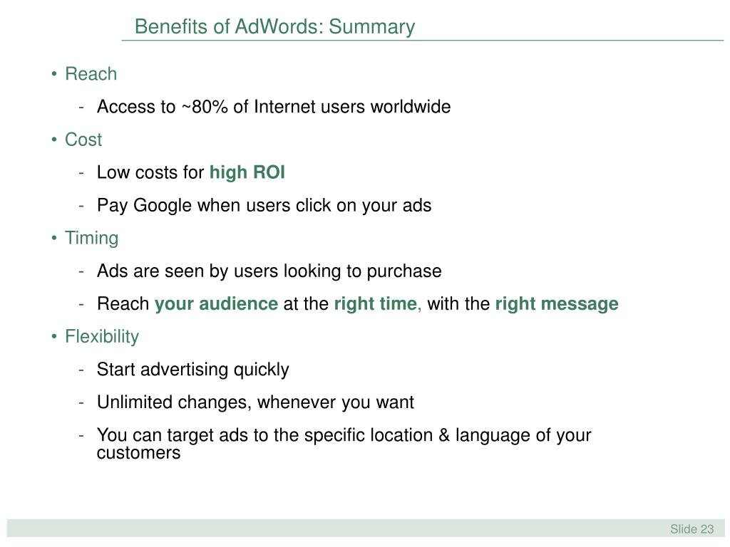 Benefits of AdWords: Summary