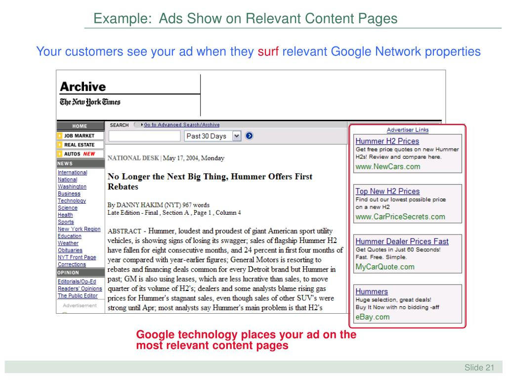 Example:  Ads Show on Relevant Content Pages
