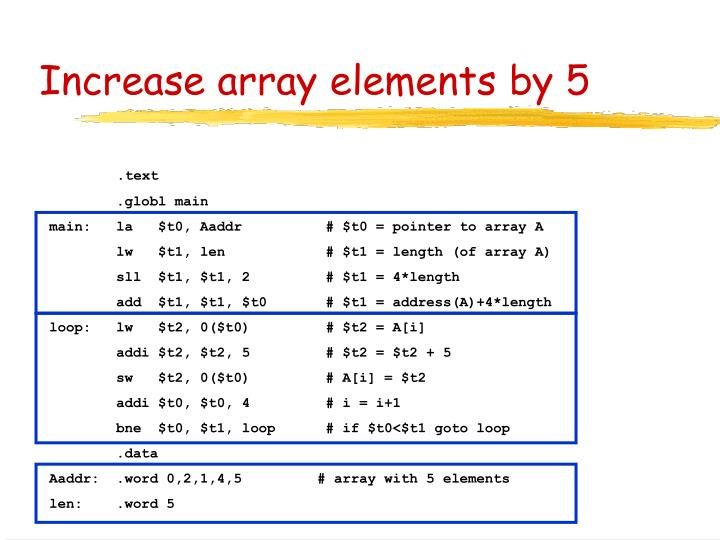 Increase array elements by 5