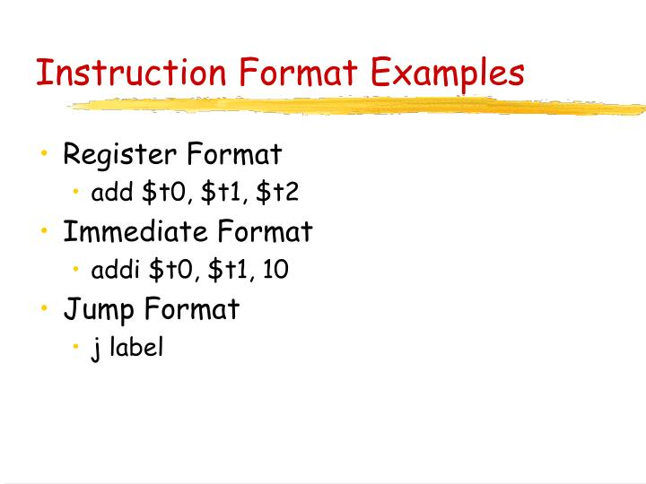 Instruction Format Examples