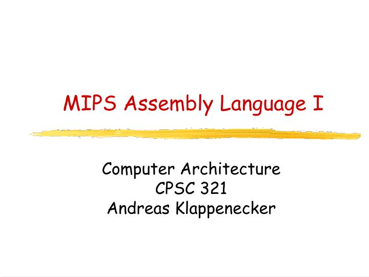 Mips assembly language i