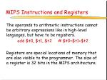 mips instructions and registers