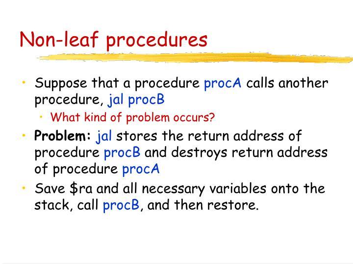 Non-leaf procedures