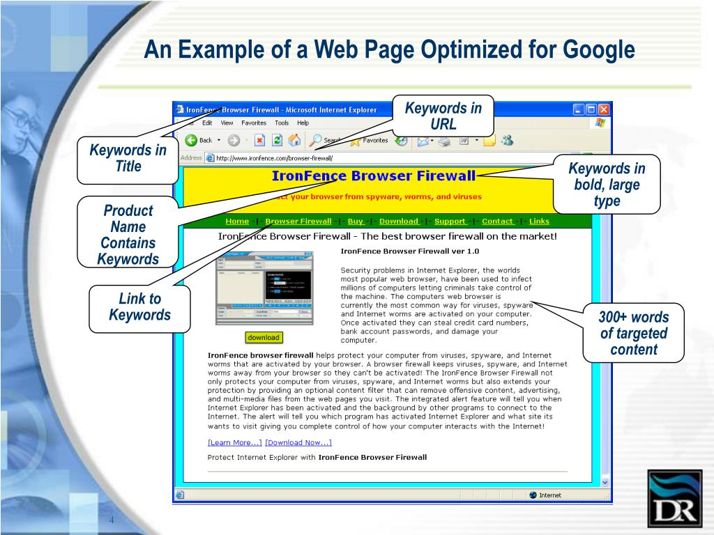An Example of a Web Page Optimized for Google