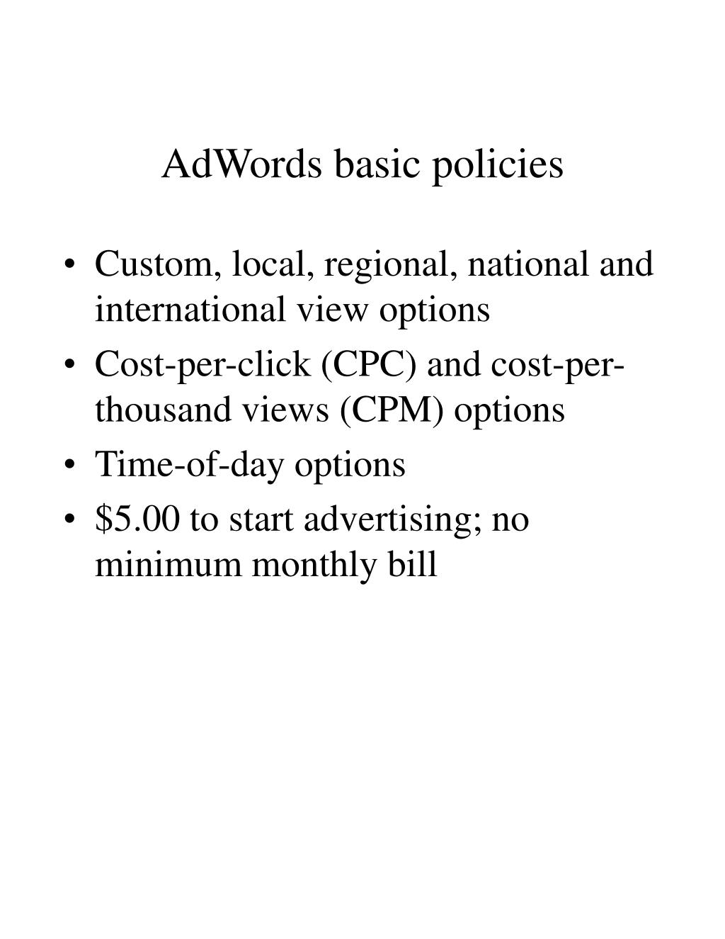 AdWords basic policies