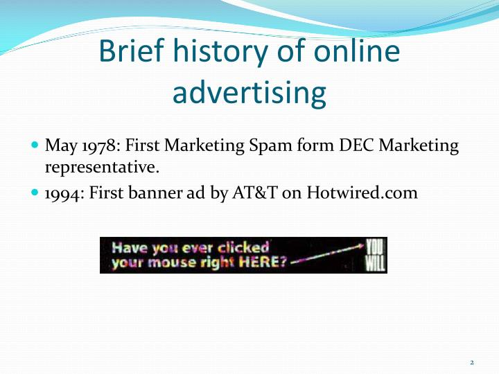 Brief history of online advertising