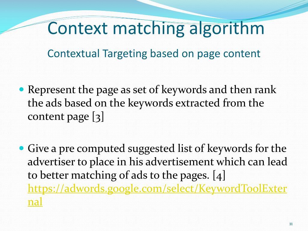 Context matching algorithm