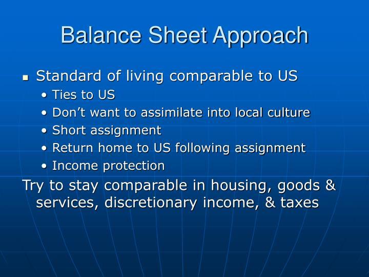 Balance Sheet Approach