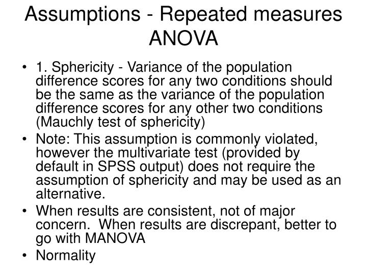 Assumptions - Repeated measures ANOVA