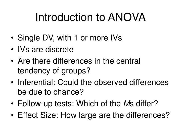 Introduction to ANOVA