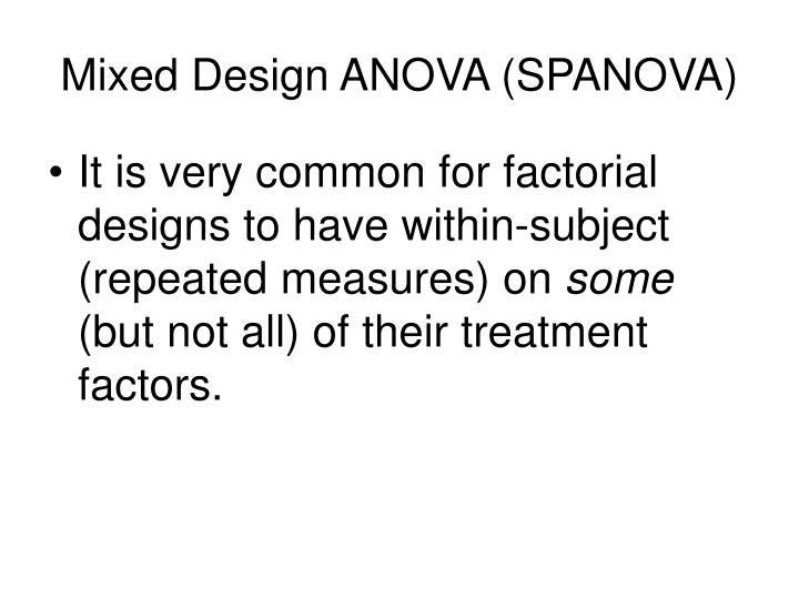 Mixed Design ANOVA (SPANOVA)