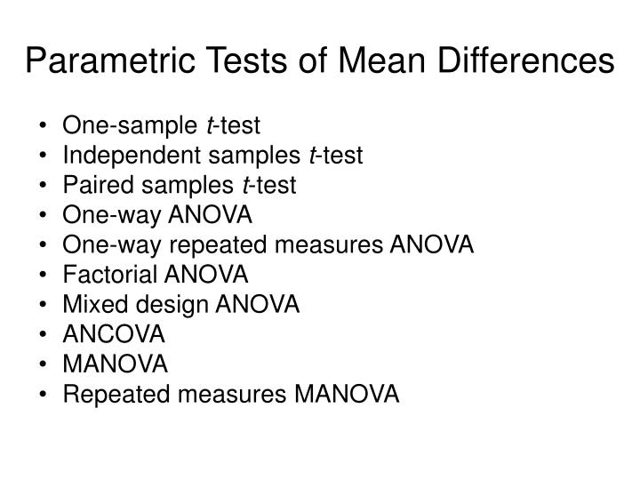 Parametric Tests of Mean Differences