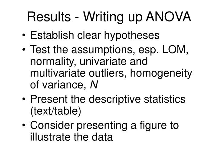 Results - Writing up ANOVA