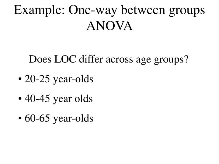 Example: One-way between groups ANOVA