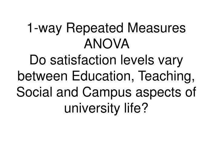 1-way Repeated Measures ANOVA